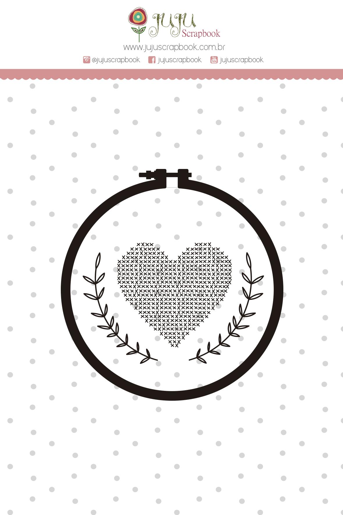 Carimbo M Coração Bordado - Coleção Meu Coração é Seu - JuJu Scrapbook  - JuJu Scrapbook