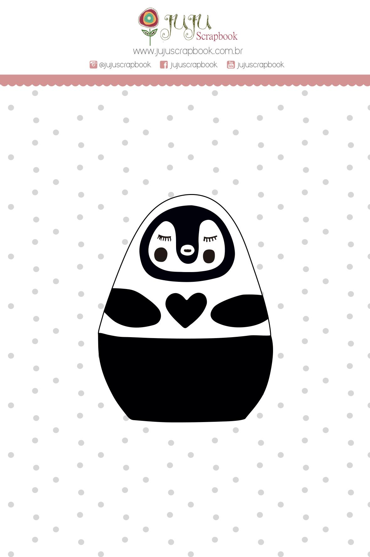 """Cartela de Carimbo M """"Pinguim"""" - Coleção Meu Coração é Seu / JuJu Scrapbook  - JuJu Scrapbook"""