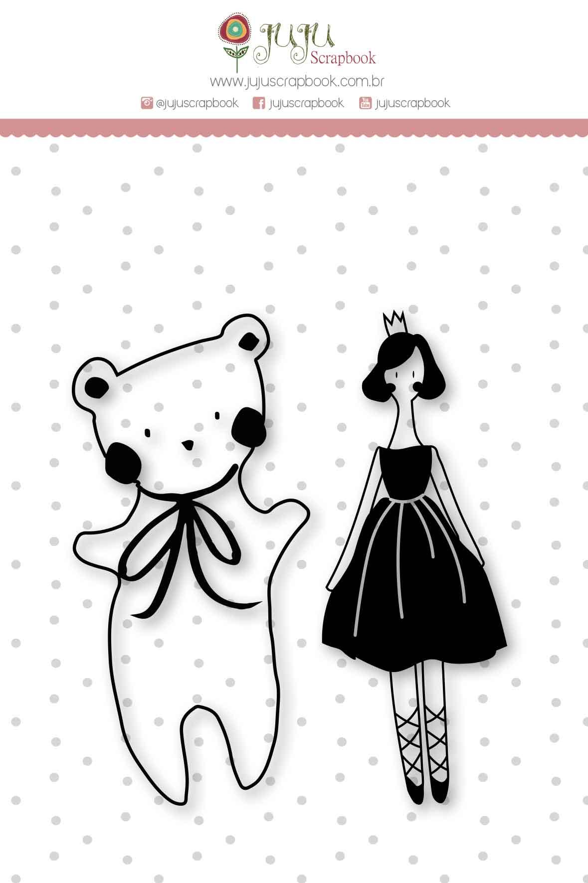"""Cartela de Carimbo M """"Urso e Bailarina"""" - Coleção Mundo Mágico / JuJu Scrapbook  - JuJu Scrapbook"""