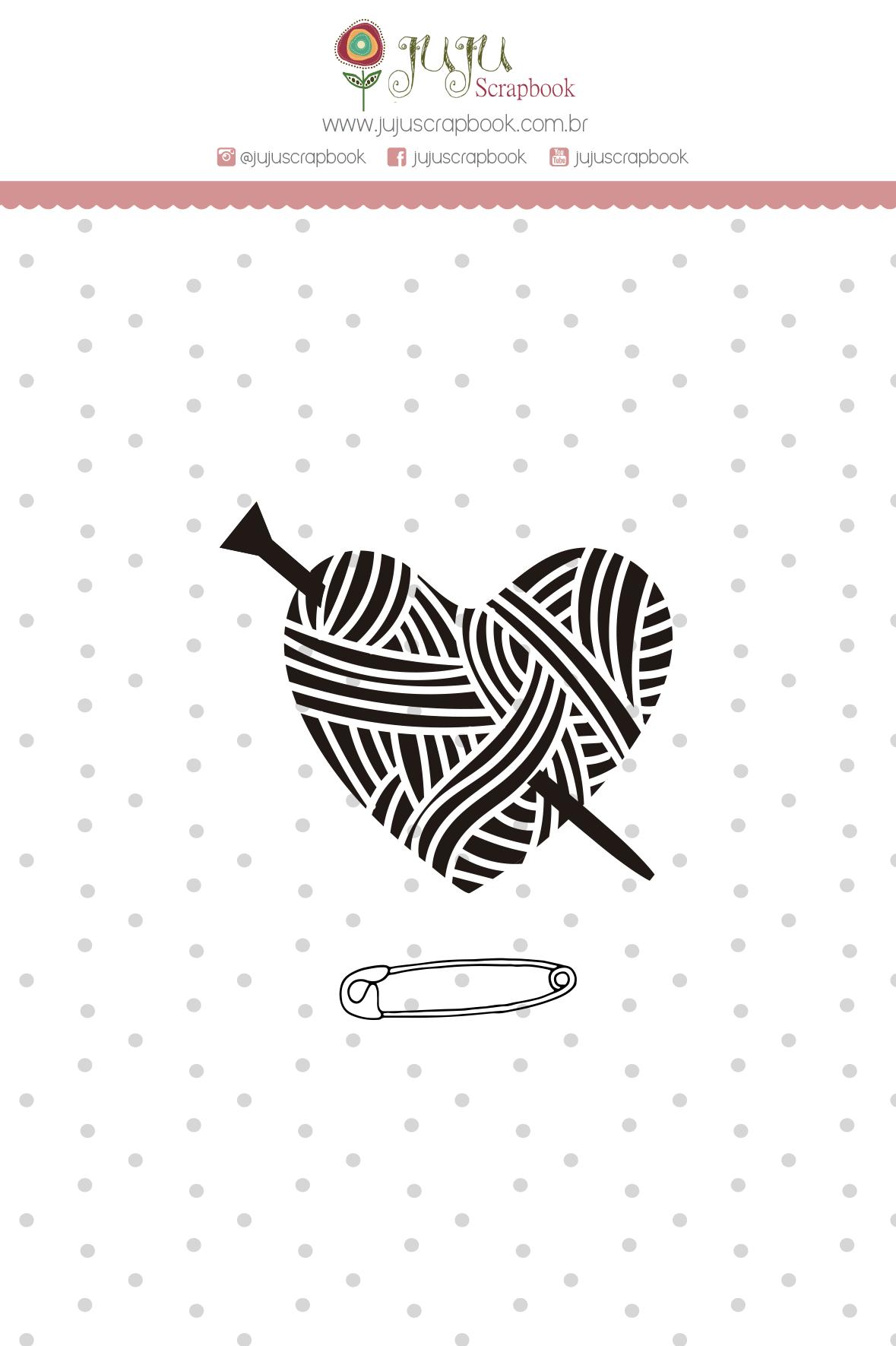 Carimbo Mini Coração de Lã - Coleção Meu Coração é Seu - JuJu Scrapbook  - JuJu Scrapbook