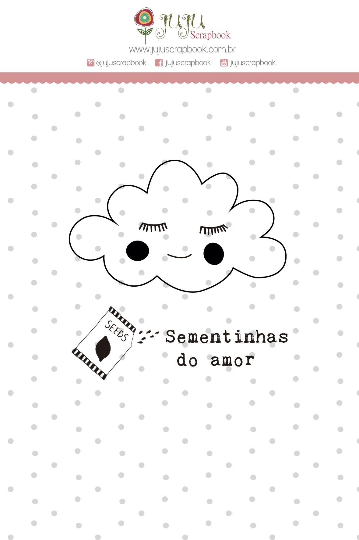 """Cartela de Carimbo Mini """"Nuvem"""" - Coleção Meu Coração é Seu / JuJu Scrapbook  - JuJu Scrapbook"""