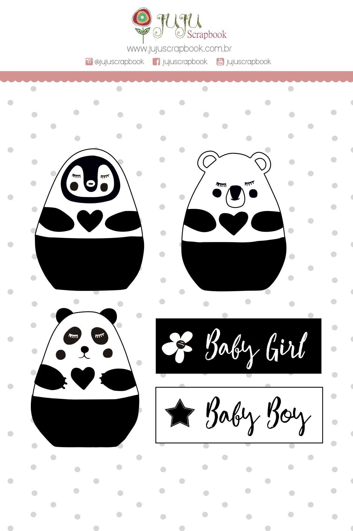Carimbo XG Baby Girl, Baby Boy - Coleção Meu Coração é Seu - JuJu Scrapbook  - JuJu Scrapbook