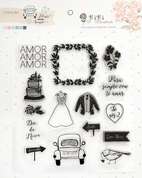 "Cartela de Carimbos ""Só Nós 2"" - Coleção Felizes Para Sempre / JuJu Scrapbook  - JuJu Scrapbook"