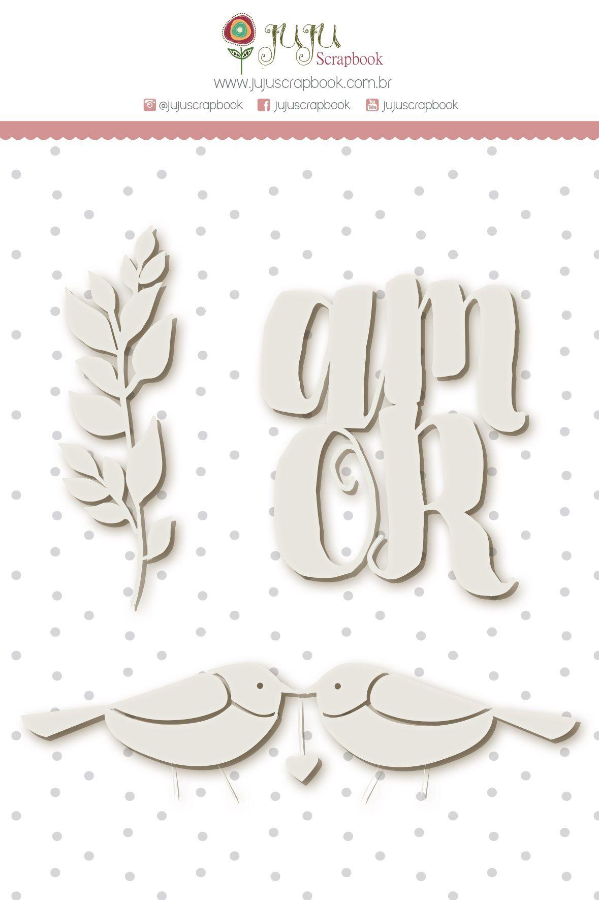 Enfeite Chipboard Branco Amor - Coleção Felizes Para Sempre - JuJu Scrapbook  - JuJu Scrapbook