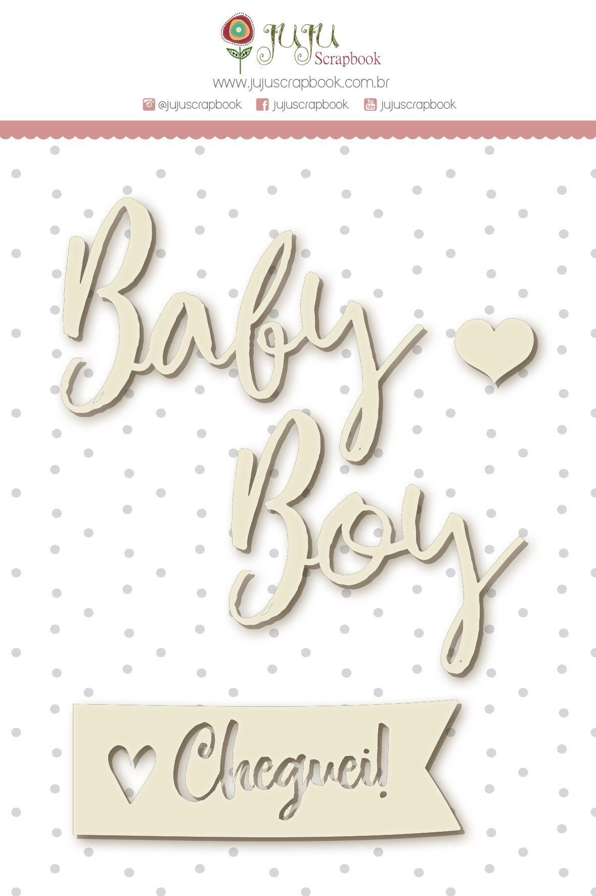 Enfeite Chipboard Branco Baby Boy - Coleção Meu Coração é Seu - JuJu Scrapbook  - JuJu Scrapbook