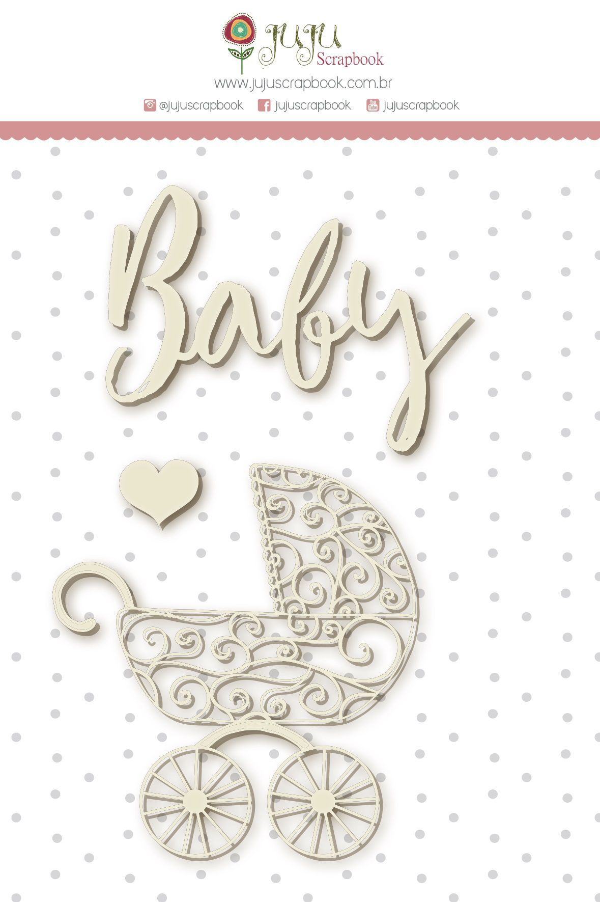 Enfeite Chipboard Branco Baby - Coleção Meu Coração é Seu - JuJu Scrapbook  - JuJu Scrapbook