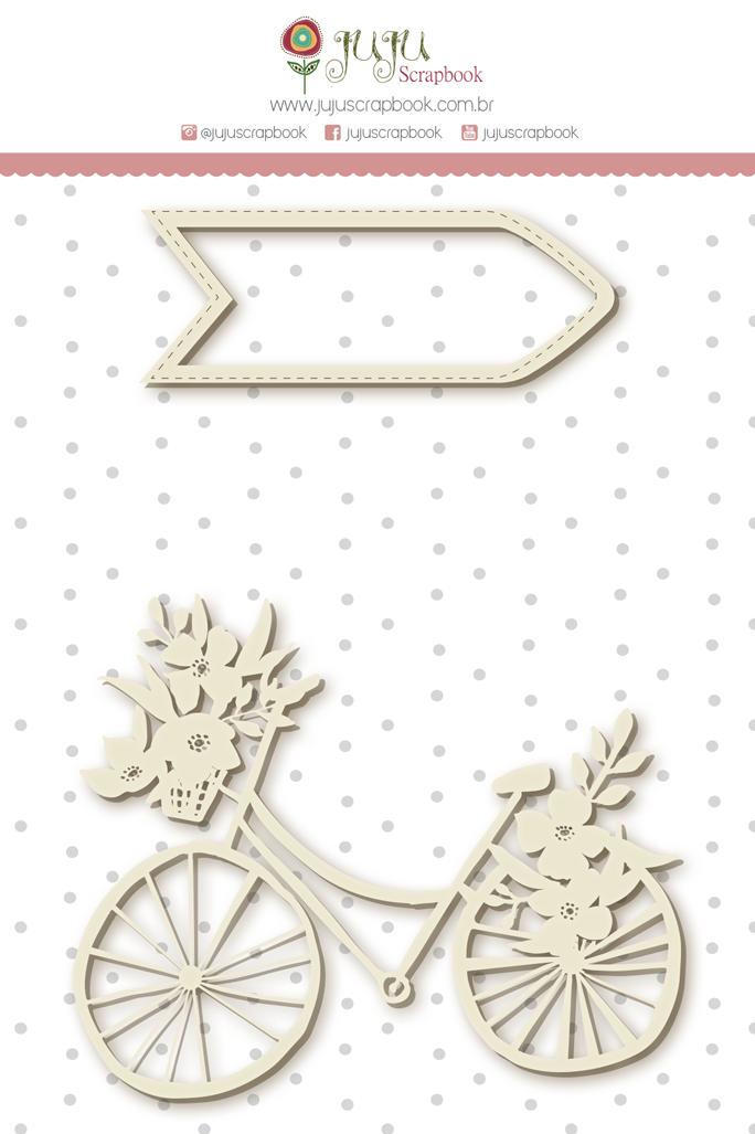 Enfeite Chipboard Branco Bike - Coleção Felizes Para Sempre - JuJu Scrapbook  - JuJu Scrapbook