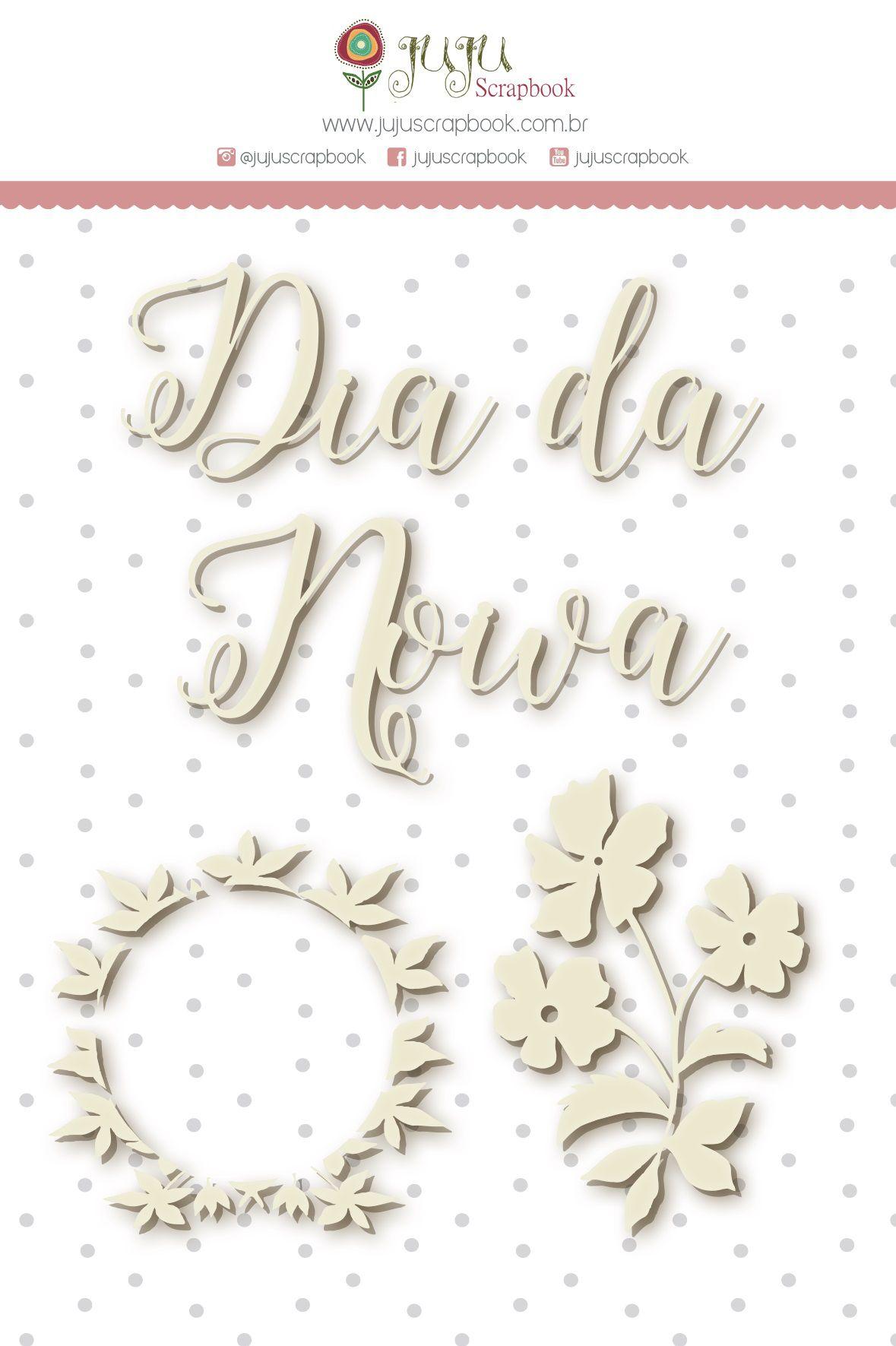 Enfeite Chipboard Branco Dia de Noiva - Coleção Felizes Para Sempre - JuJu Scrapbook  - JuJu Scrapbook