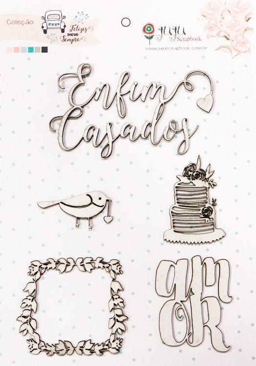 """Cartela de Enfeites """"Enfim Casados"""" - Coleção Felizes Para Sempre / JuJu Scrapbook  - JuJu Scrapbook"""