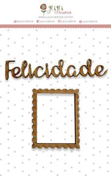 Enfeite MDF Felicidade - Coleção Botânica Vintage - JuJu Scrapbook  - JuJu Scrapbook