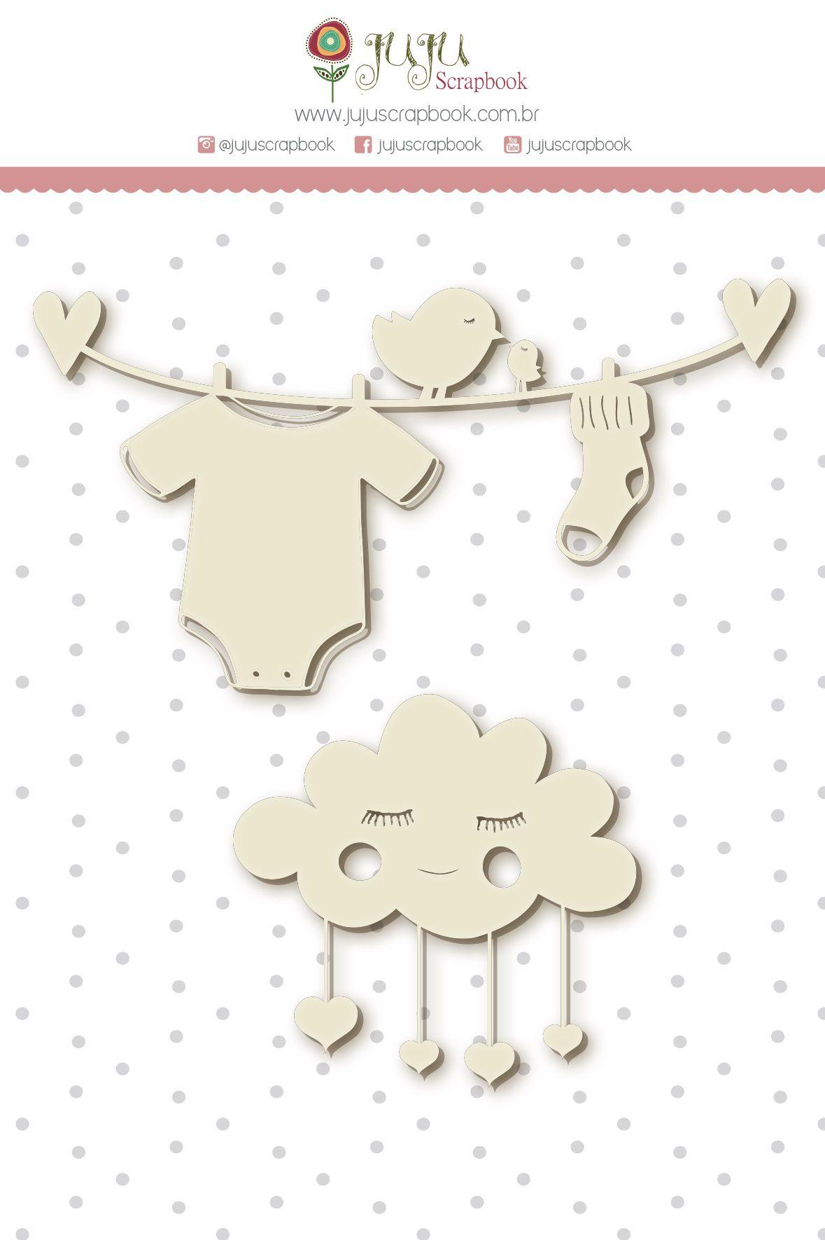Enfeite Chipboard Branco Nuvem de Amor - Coleção Meu Coração é Seu - JuJu Scrapbook  - JuJu Scrapbook