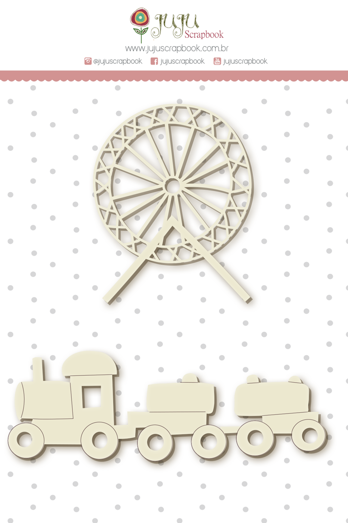 Enfeite Chipboard Branco Roda Gigante - Coleção Mundo Mágico - JuJu Scrapbook  - JuJu Scrapbook