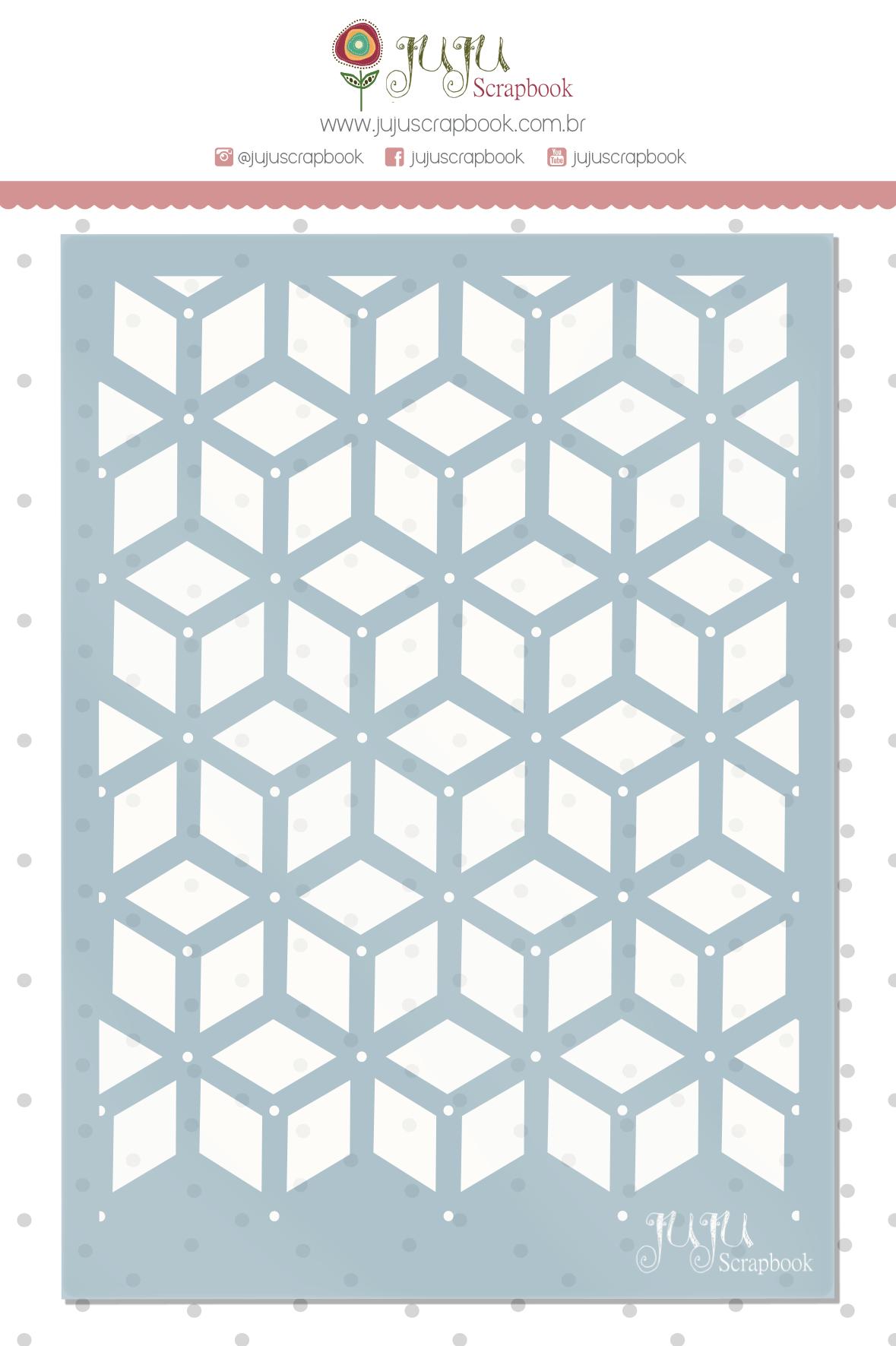 Stencil Arabesco Geométrico - Coleção Quarentena Criativa - Juju Scrapbook  - JuJu Scrapbook
