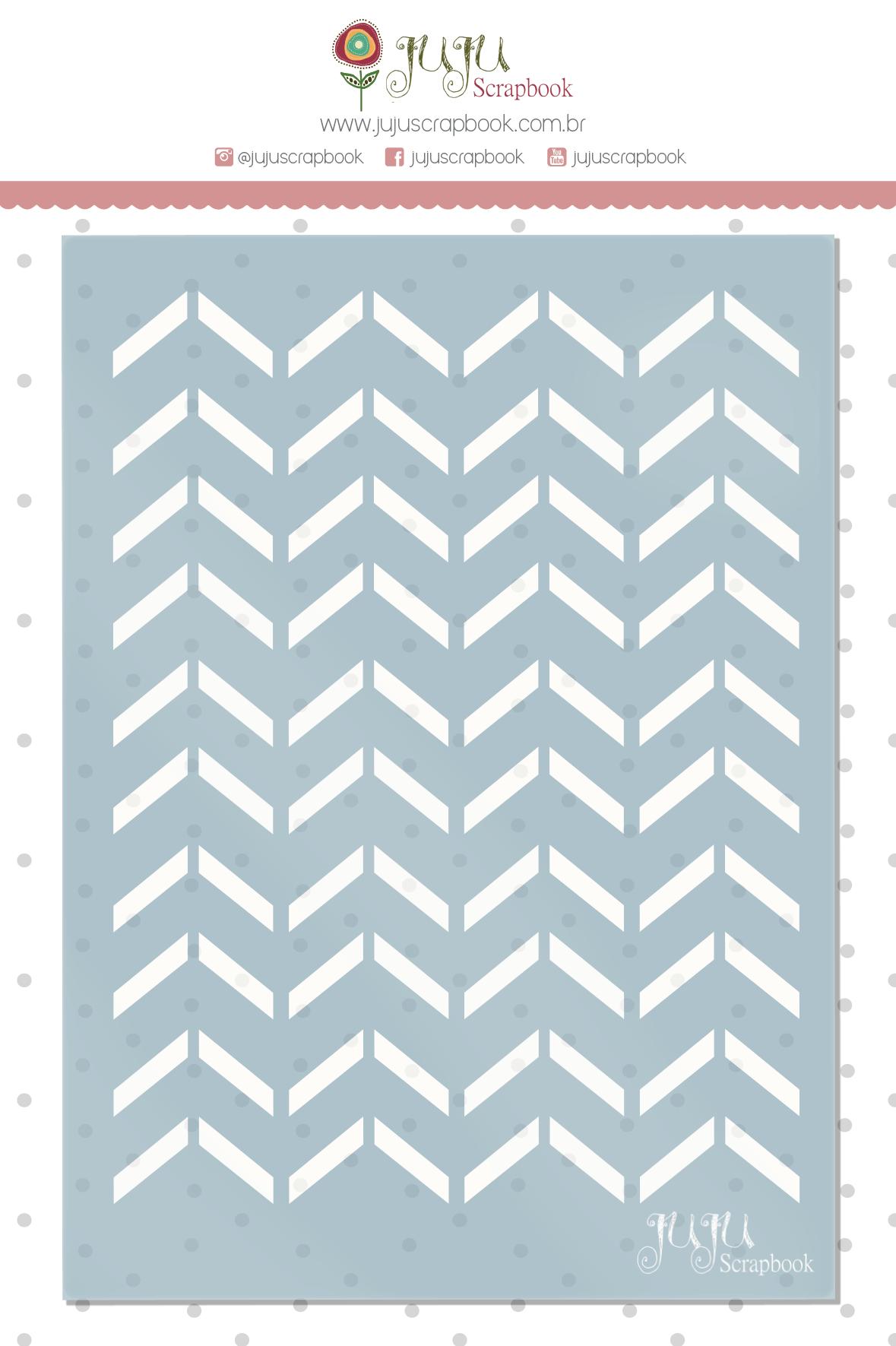 Stencil Chevron Geométrico - Coleção Quarentena Criativa - Juju Scrapbook  - JuJu Scrapbook