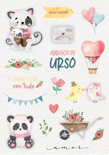 Coleção Abraço de Urso by Estúdio 812 - Adesivo Amor Infinito / JuJu Scrapbook  - JuJu Scrapbook