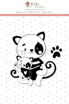Carimbo G Gato - Coleção Abraço de Urso - JuJu Scrapbook  - JuJu Scrapbook