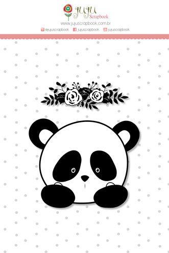 "Coleção Abraço de Urso by Estúdio 812 - Carimbo G ""Panda Floral"" / JuJu Scrapbook  - JuJu Scrapbook"