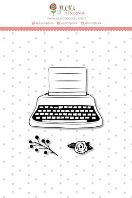 Carimbo Mini Máquina de Escrever - Coleção Abraço de Urso - JuJu Scrapbook  - JuJu Scrapbook