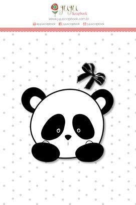 Carimbo Mini Panda - Coleção Abraço de Urso - JuJu Scrapbook  - JuJu Scrapbook