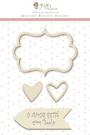 Enfeite Chipboard Branco Amor Está em Tudo - Coleção Abraço de Urso - JuJu Scrapbook  - JuJu Scrapbook
