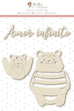 """Coleção Abraço de Urso by Estúdio 812 - Cartela de Enfeite """"Amor Infinito"""" / JuJu Scrapbook  - JuJu Scrapbook"""