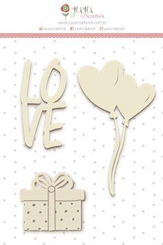 Enfeite Chipboard Branco Love - Coleção Abraço de Urso - JuJu Scrapbook  - JuJu Scrapbook
