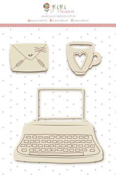 Enfeite Chipboard Branco Máquina de Escrever - Coleção Abraço de Urso - JuJu Scrapbook  - JuJu Scrapbook
