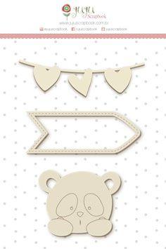 Enfeite Chipboard Branco Panda - Coleção Abraço de Urso - JuJu Scrapbook  - JuJu Scrapbook