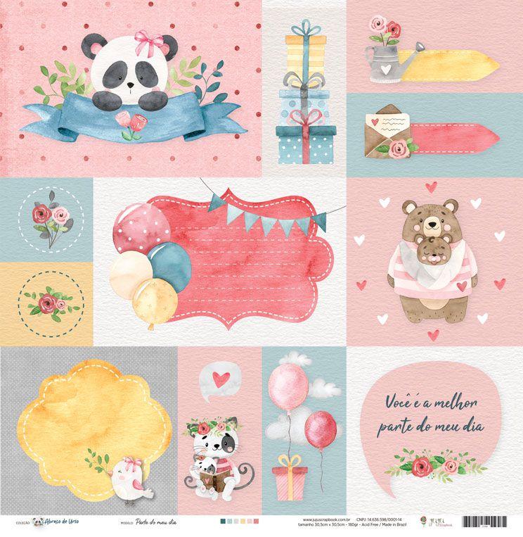 Papel Parte do meu Dia - Coleção Abraço de Urso - JuJu Scrapbook  - JuJu Scrapbook