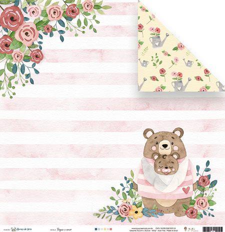 Papel Regue o Amor - Coleção Abraço de Urso - JuJu Scrapbook  - JuJu Scrapbook