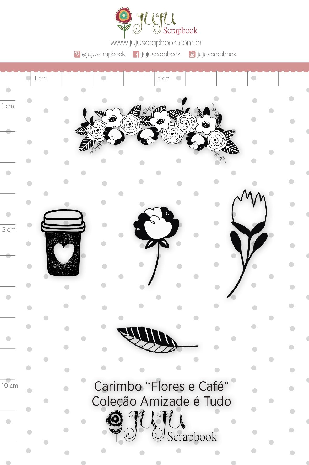 Carimbo M Flores e Café - Coleção Amizade é Tudo - JuJu Scrapbook  - JuJu Scrapbook