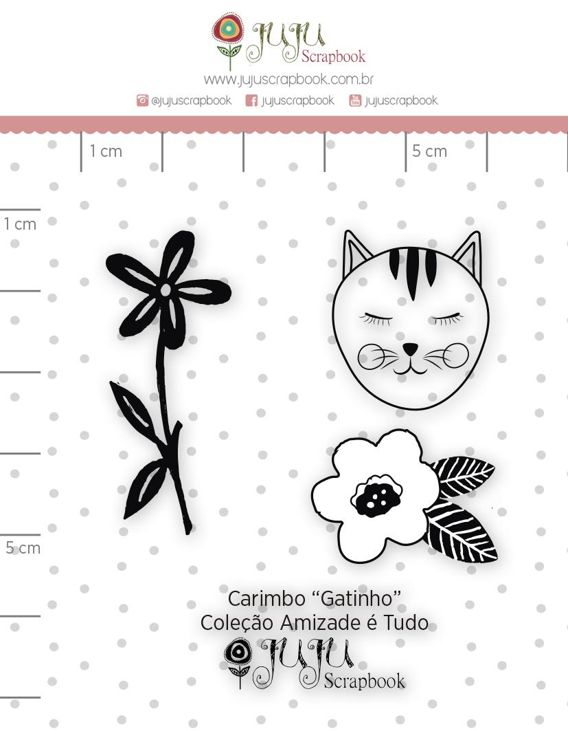 Carimbo Mini Gatinho - Coleção Amizade é Tudo - JuJu Scrapbook  - JuJu Scrapbook