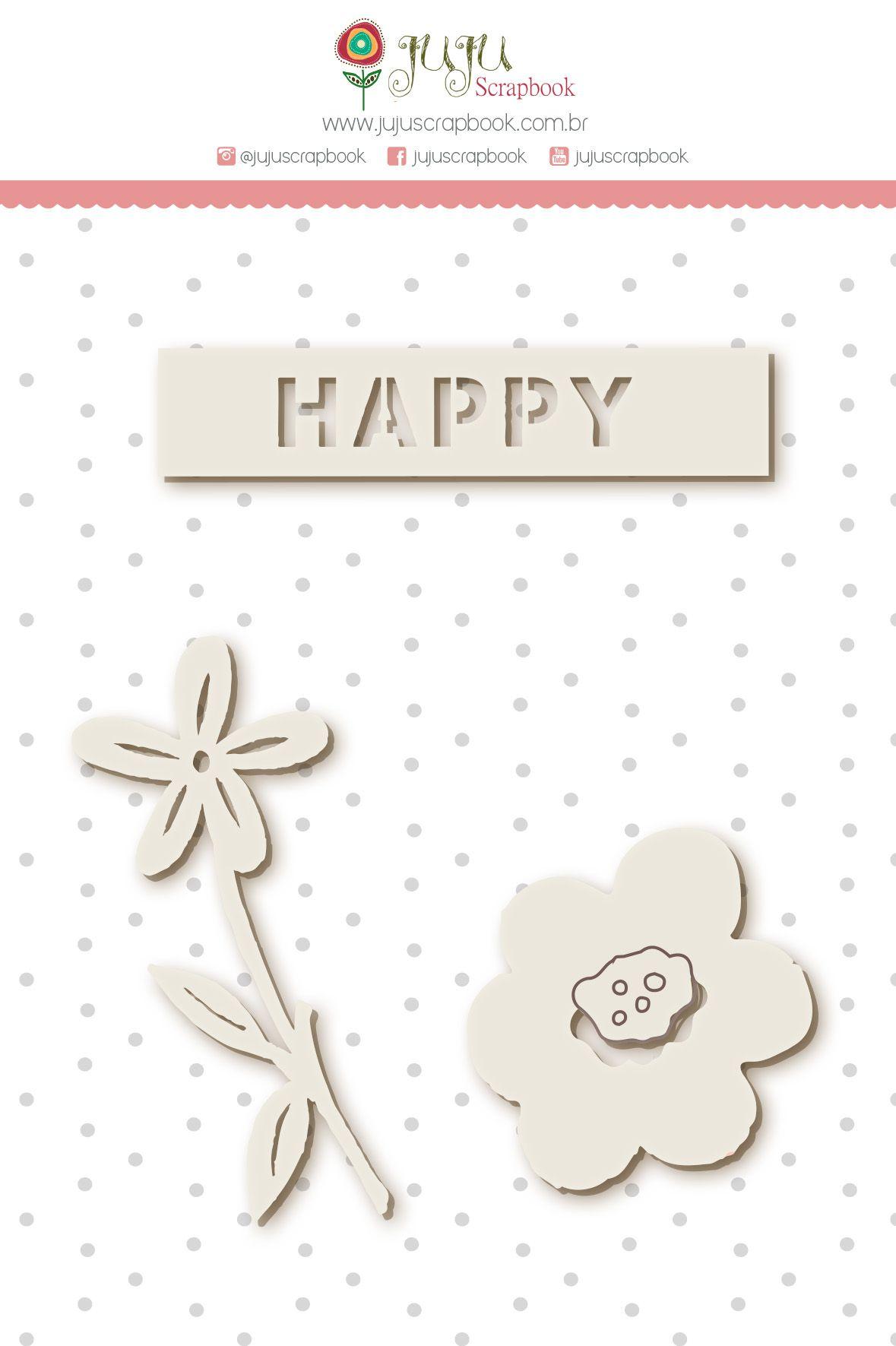 Enfeite Chipboard Branco Happy - Coleção Amizade é Tudo - JuJu Scrapbook  - JuJu Scrapbook