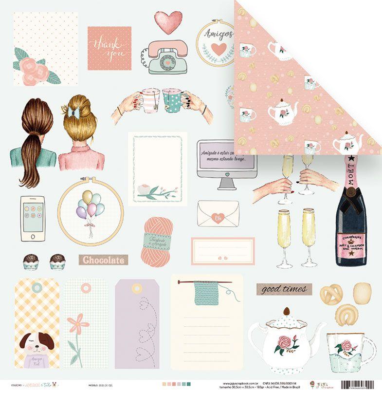 Papel Hora do chá - Coleção Amizade é Tudo - JuJu Scrapbook  - JuJu Scrapbook