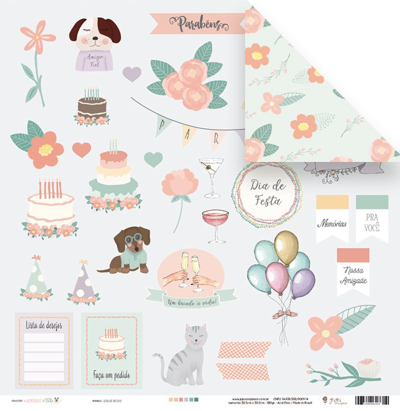 Papel Lista de desejos - Coleção Amizade é Tudo - JuJu Scrapbook  - JuJu Scrapbook