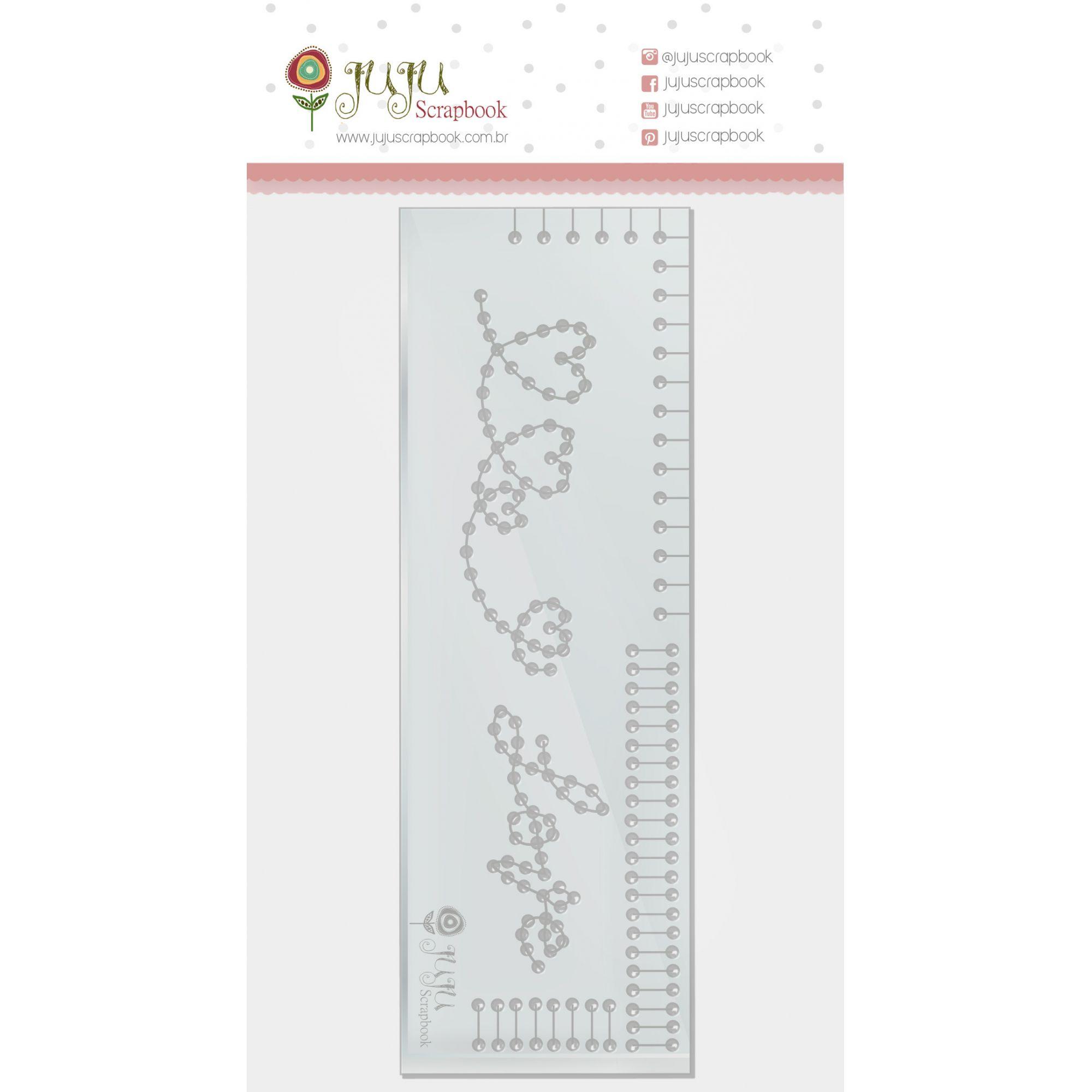 Régua de Costura Corações - Coleção Amizade é Tudo - JuJu Scrapbook  - JuJu Scrapbook