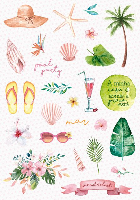 Adesivo Pool Party - Coleção Paraíso Tropical - JuJu Scrapbook  - JuJu Scrapbook