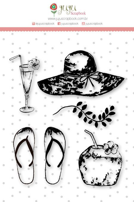 """Coleção Paraíso Tropical by Babi Kind - Carimbo G """"Férias de Verão"""" / JuJu Scrapbook  - JuJu Scrapbook"""