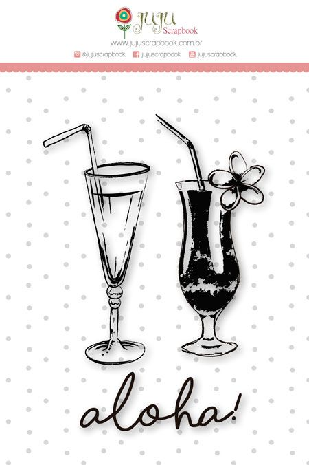 Carimbo M Bons Drinks - Coleção Paraíso Tropical - JuJu Scrapbook  - JuJu Scrapbook