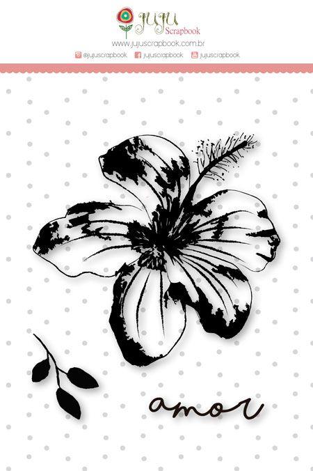 Carimbo Mini Amor Floral - Coleção Paraíso Tropical - JuJu Scrapbook  - JuJu Scrapbook