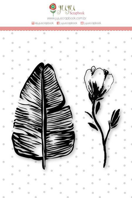 Carimbo Mini Jardim de Verão - Coleção Paraíso Tropical - JuJu Scrapbook  - JuJu Scrapbook