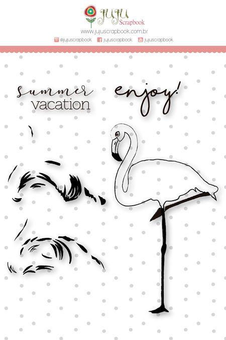 Carimbo XG Flamingo em Camadas - Coleção Paraíso Tropical - JuJu Scrapbook  - JuJu Scrapbook