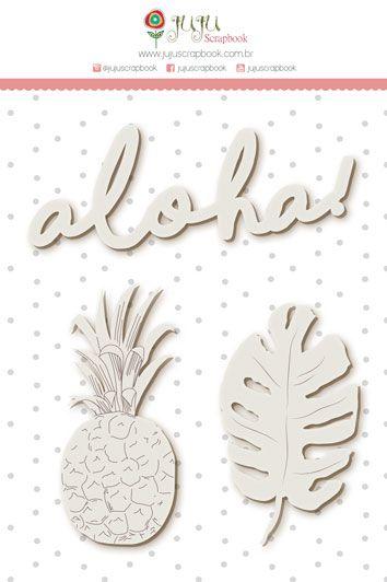 Enfeite Chipboard Branco Aloha! - Coleção Paraíso Tropical - JuJu Scrapbook  - JuJu Scrapbook