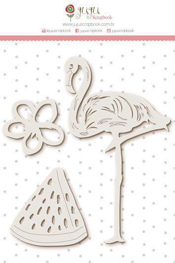 Enfeite Chipboard Branco Flamingo - Coleção Paraíso Tropical - JuJu Scrapbook  - JuJu Scrapbook