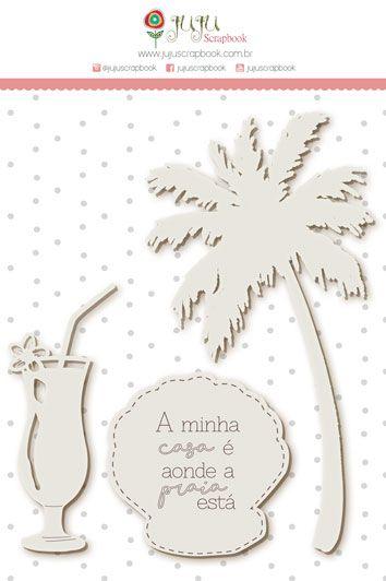 Enfeite Chipboard Branco Minha Casa - Coleção Paraíso Tropical - JuJu Scrapbook  - JuJu Scrapbook