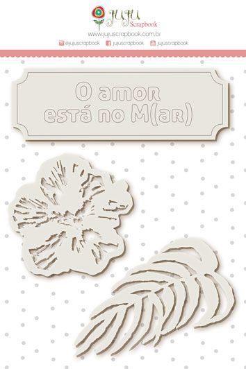 Enfeite Chipboard Branco O Amor está no M(ar) - Coleção Paraíso Tropical - JuJu Scrapbook  - JuJu Scrapbook