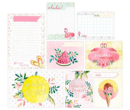 Cards Férias em Família - Coleção Paraíso Tropical - JuJu Scrapbook  - JuJu Scrapbook