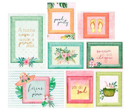 Cards Pôr do Sol - Coleção Paraíso Tropical - JuJu Scrapbook  - JuJu Scrapbook