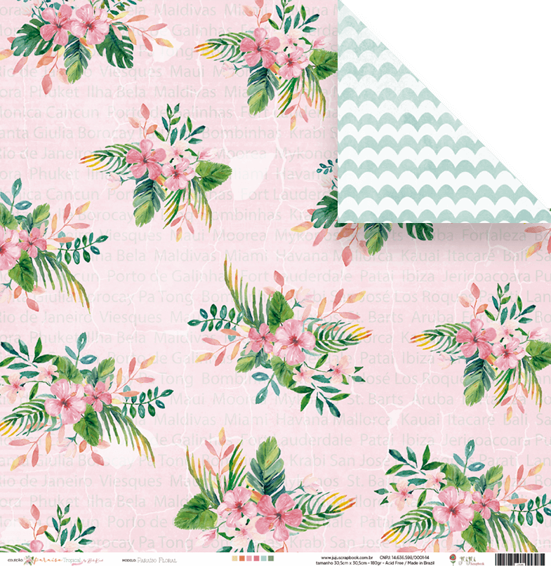 Papel Paraíso Floral - Coleção Paraíso Tropical - JuJu Scrapbook  - JuJu Scrapbook