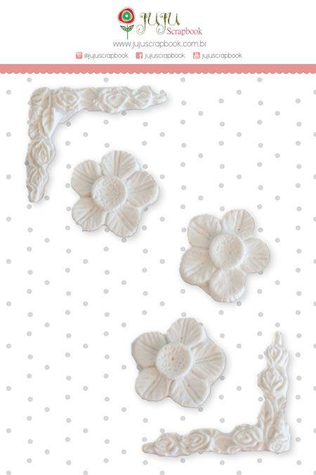 Enfeite Resina Cantoneiras e Flores - Coleção Paraíso Tropical - JuJu Scrapbook  - JuJu Scrapbook